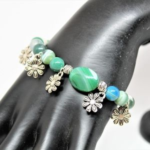 Green agate and silver flower charms bracelet